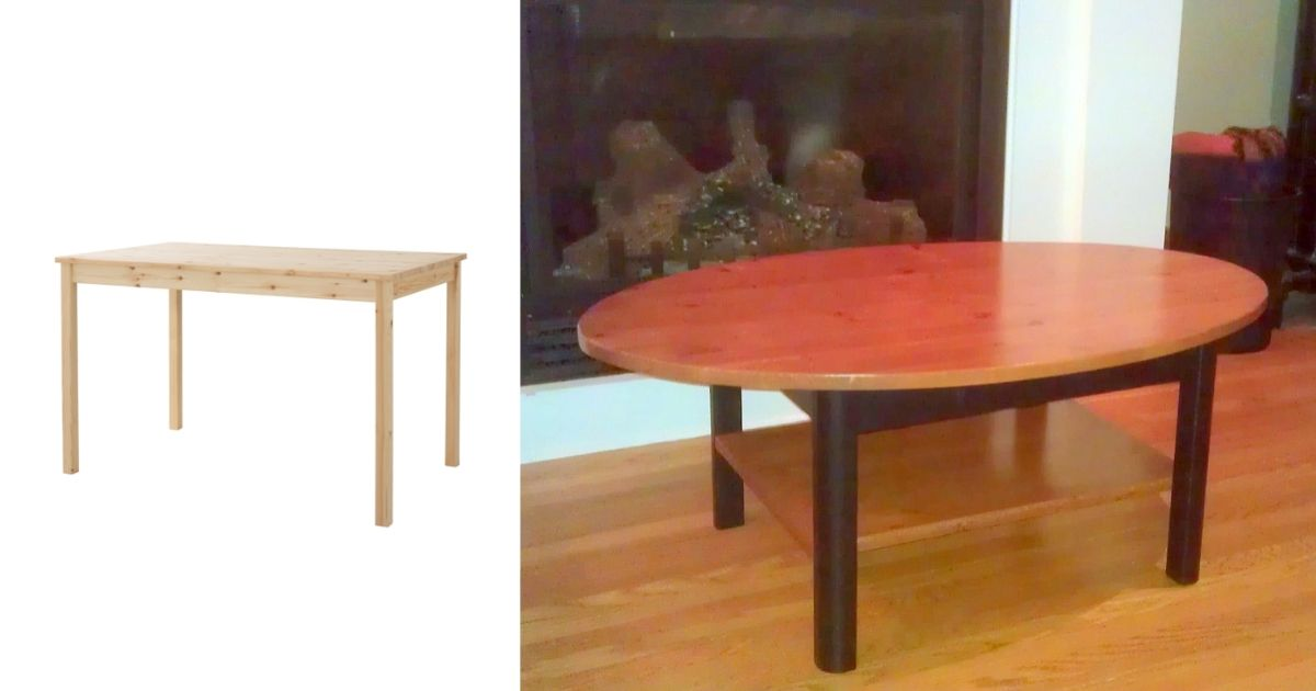 elliptical coffee table ikea ingo hack