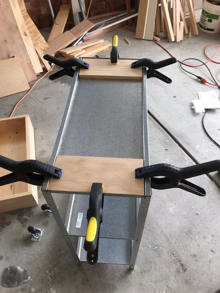 glue on the wood planks
