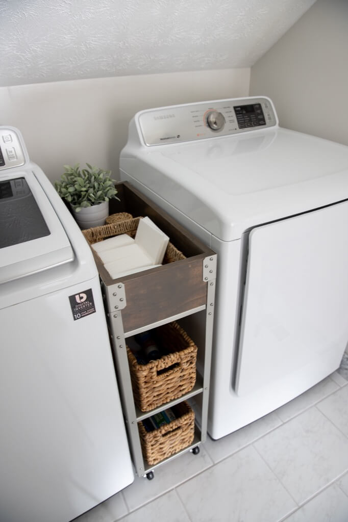 rolling storage cart for laundry room ikea hyllis hack