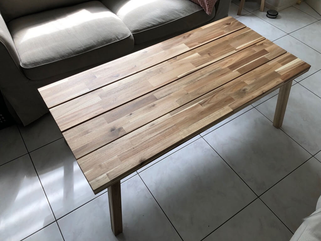 Astounding Natural Wood Coffee Table Hacked From 2 Benches Ikea Hackers Machost Co Dining Chair Design Ideas Machostcouk