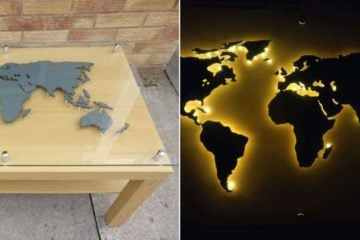back-lit world map coffee table IKEA LACK hack