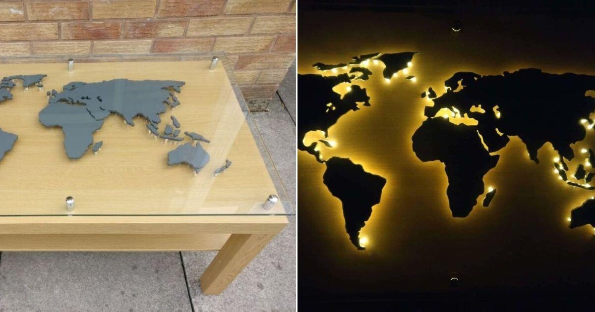back-lit world map coffee table IKEA LACK hack
