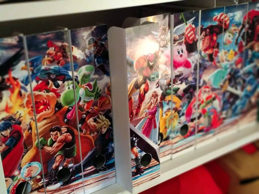 IKEA magazine holders with Super Smash Bros Ultimate cover
