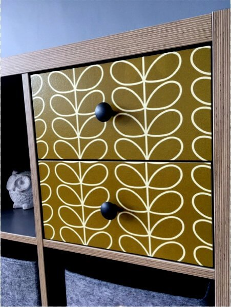 KALLAX drawers with Orla Kiely wallpaper
