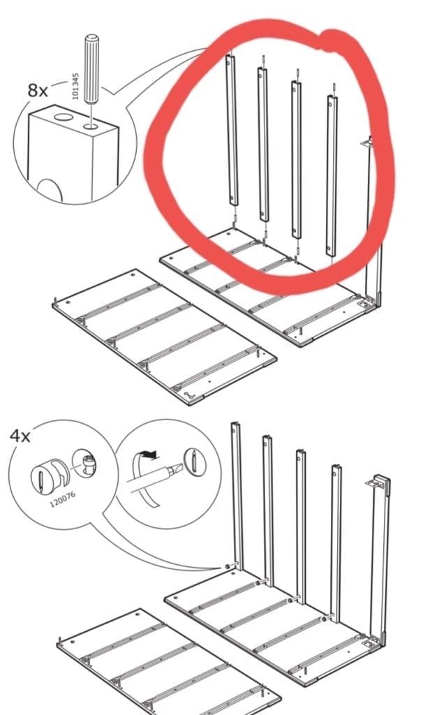 missing dresser face rails