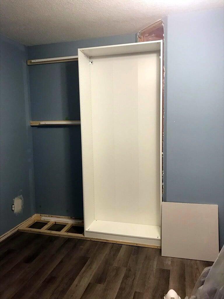 wardrobe built into the wall