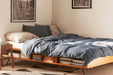 platform bed with shelves and legs