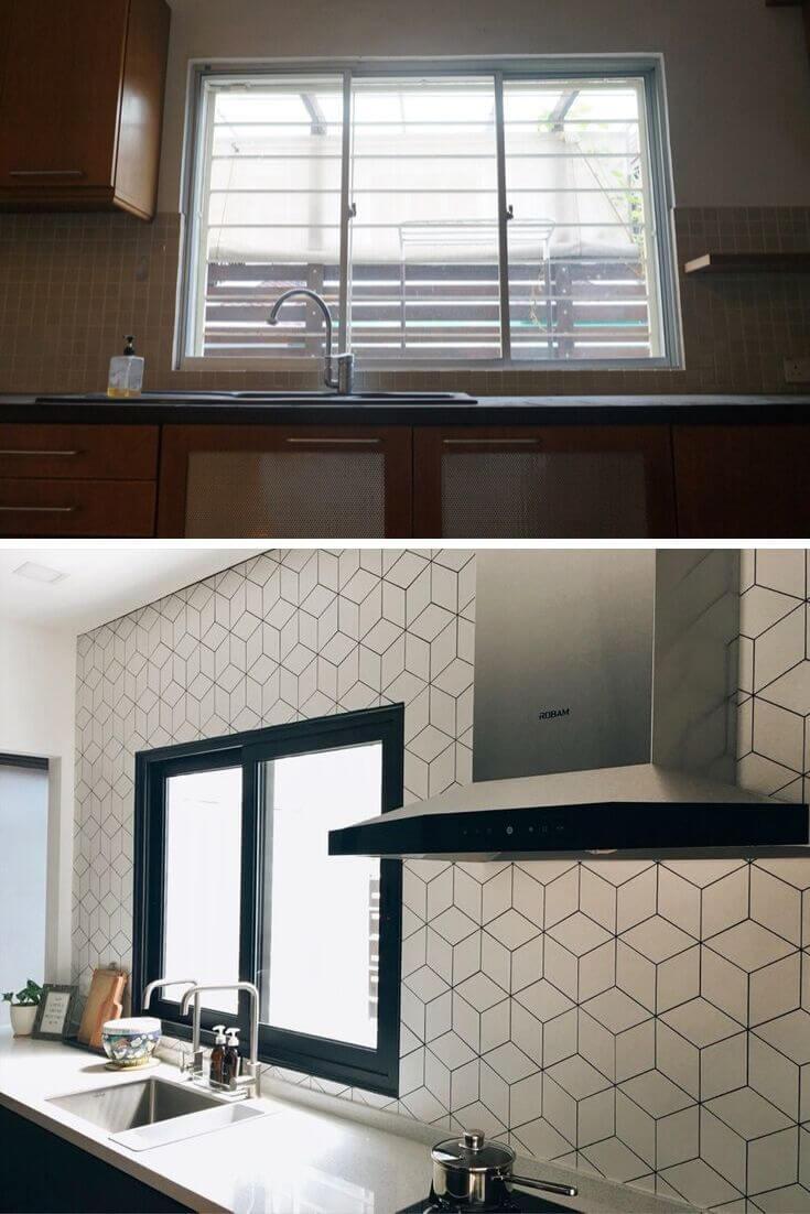 Rhombus tile backsplash