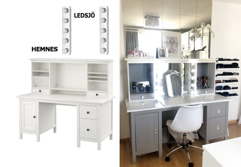 Ikea Desk Transformed Into Beauty Vanity With Storage