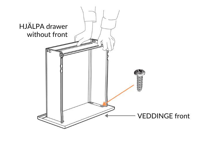 HJALPA Plasta drawers with METOD VEDDINGE front