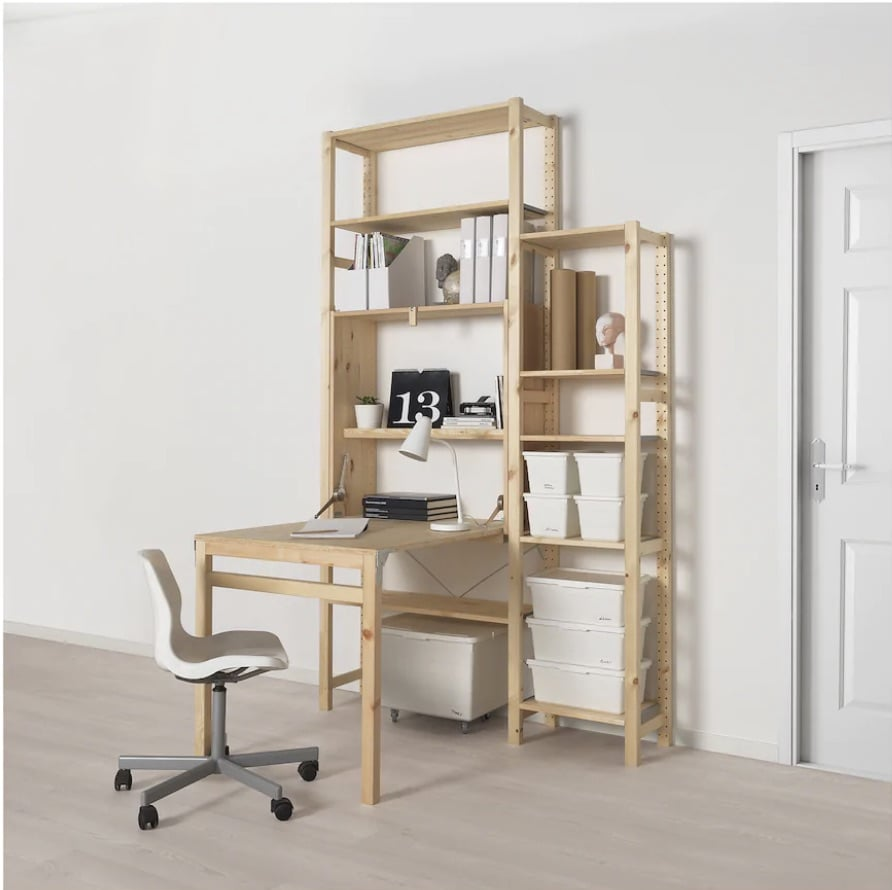 Art desk with storage for tiny studio space
