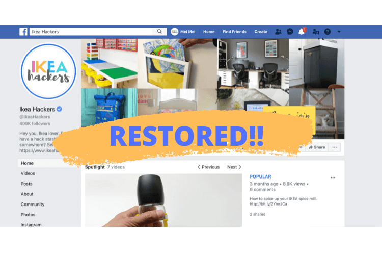hacked facebook page restored