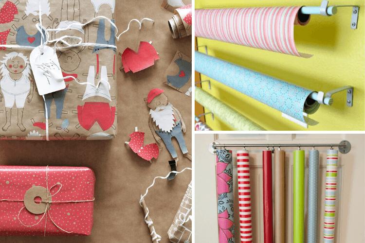 gift wrap roll storage ideas