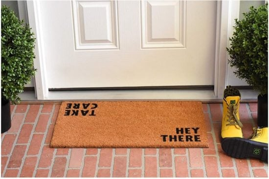 plain coir welcome mat with dual messages