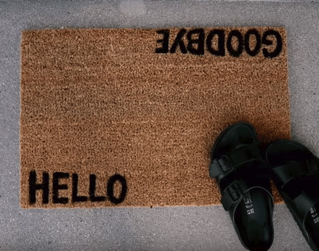 coir welcome mat with dual messages