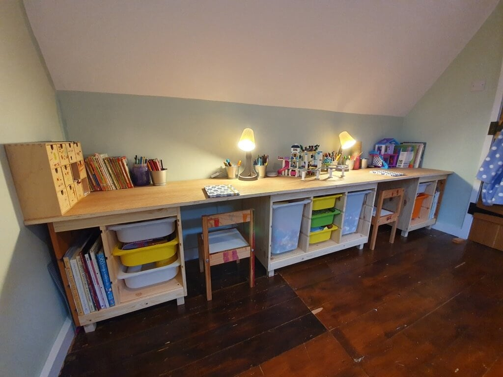 TROFAST children's desk and chairs