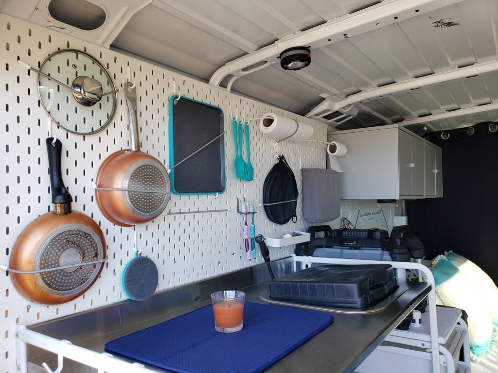 IKEA skadis pegboard for van conversion