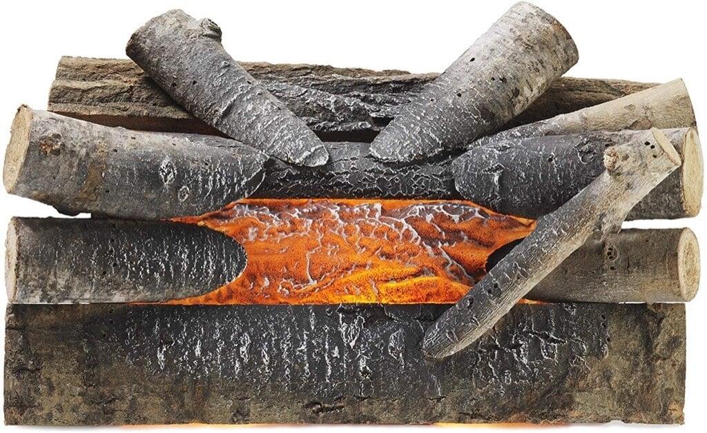 faux burning logs