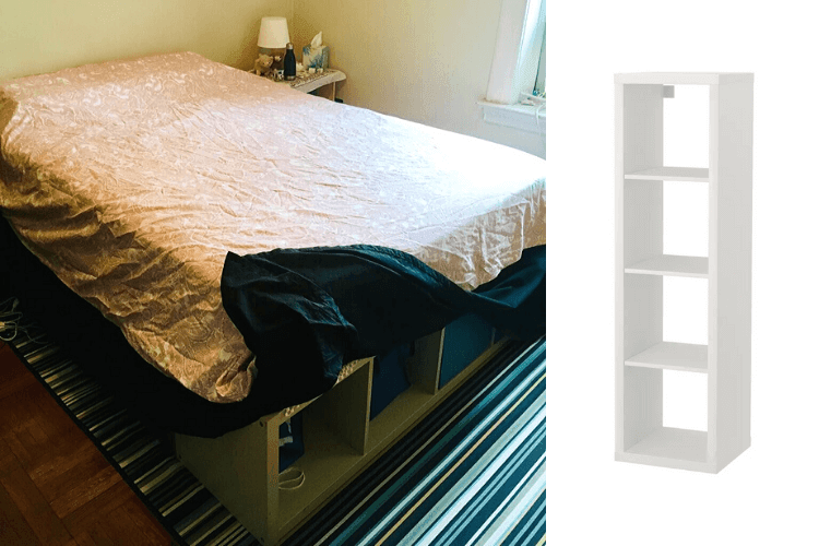 kallax full size bed frame with storage