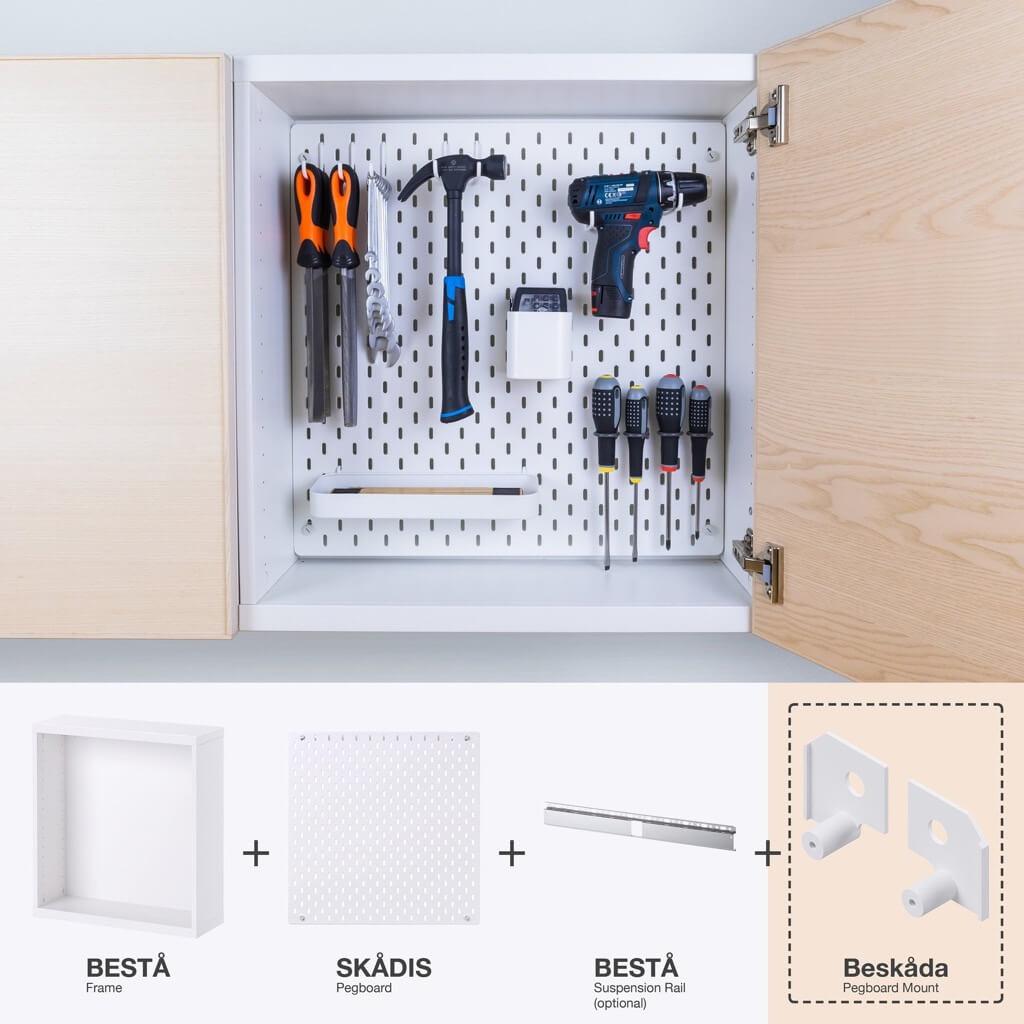 IKEA SKDIS pegboard mounted in BESTA