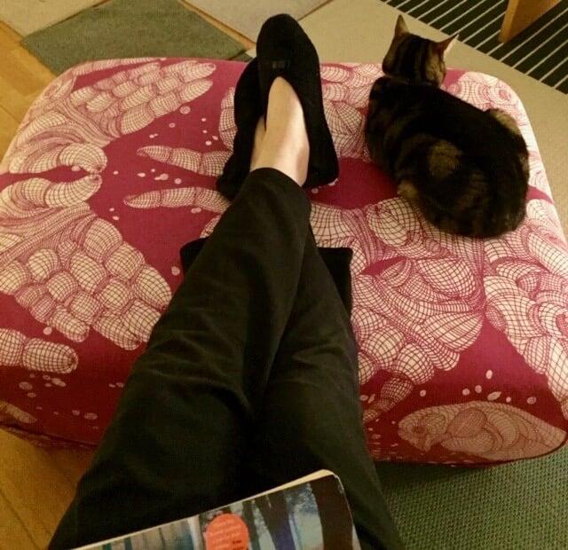 DIY ottoman pouf ikea with Kristine Mandsberg fabric for IKEA