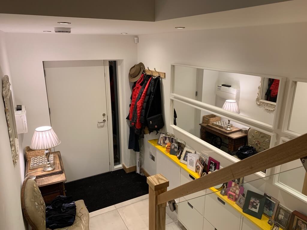 shoe storage hallway with IKEA STALL shoe storage with 4 compartments