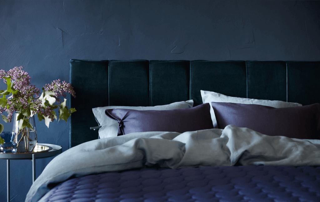 velvet headboard - cozy bedroom ideas