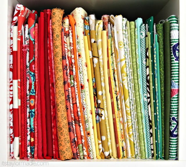 fabric wrapped in boards