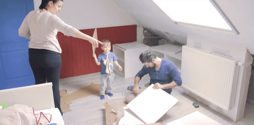 IKEA sloped ceiling built-in storage