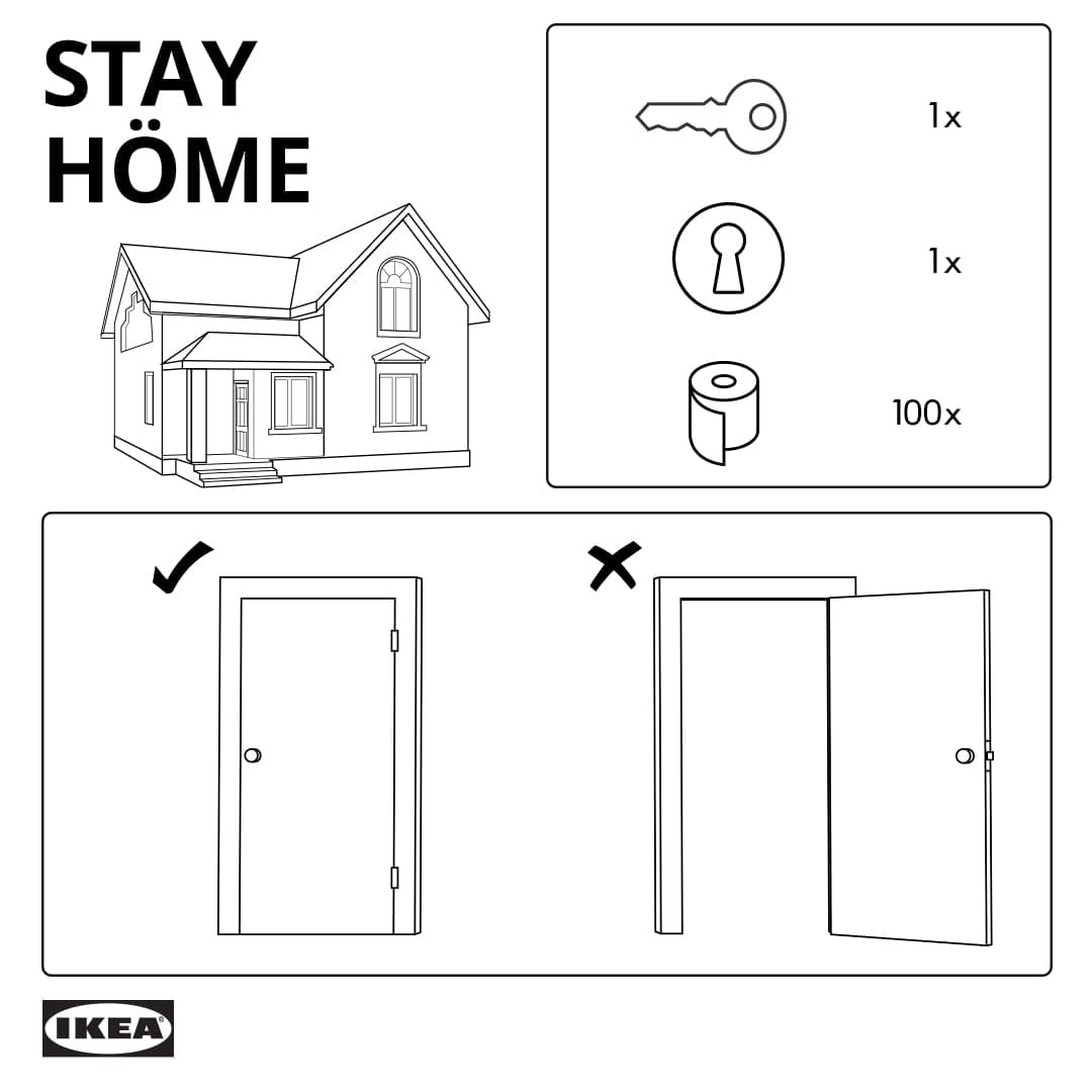 Social distancing IKEA style. Just stay home.