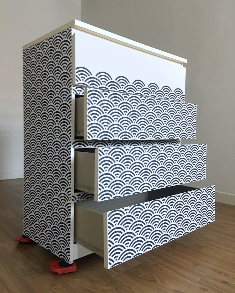 MALM chest of 4 drawers with waves furniture wrap