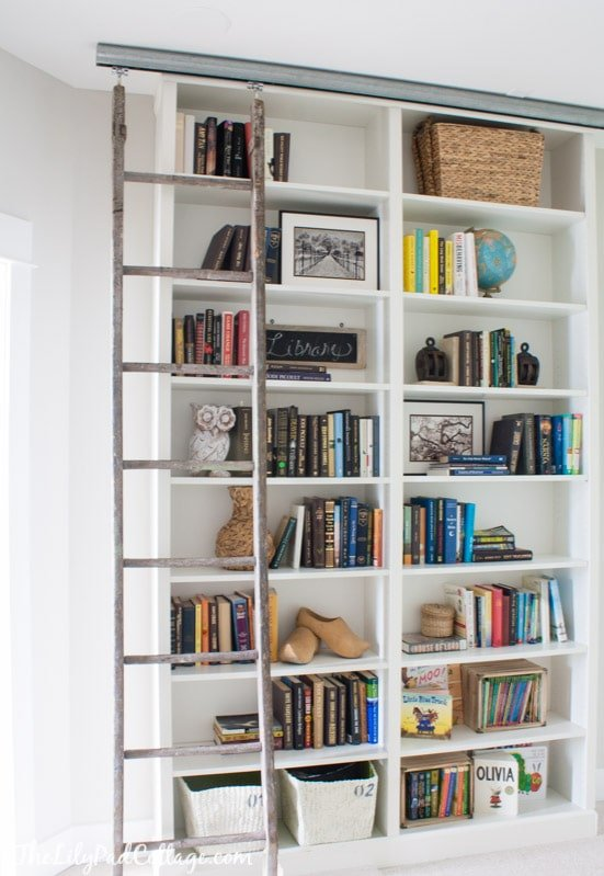 IKEA bookshelves with ladder