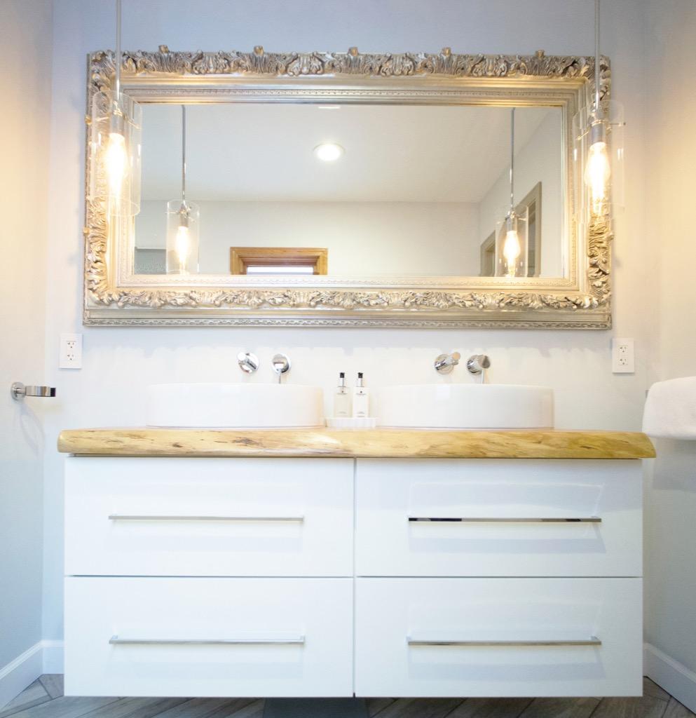IKEA bathroom vanity gets a luxurious live edge upgrade