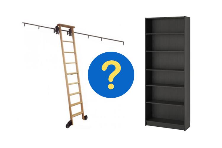 ikea bookshelves with ladder