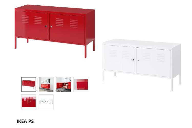 IKEA PS cabinet in red and white