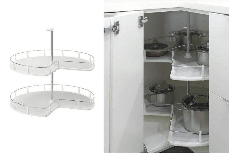 SOLVED! 4 instead of 2 tiered corner cabinet carousel