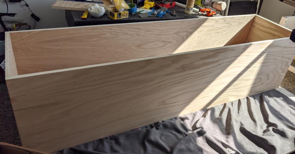 plywood box - MCM media console IKEA HEMNES hack