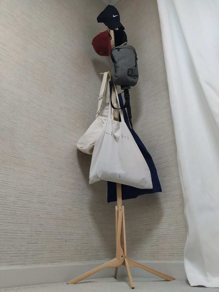wooden coat stand from IKEA clothes hangers