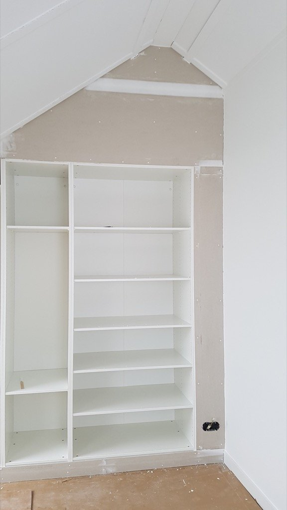 drywall around PAX closet under sloped ceiling