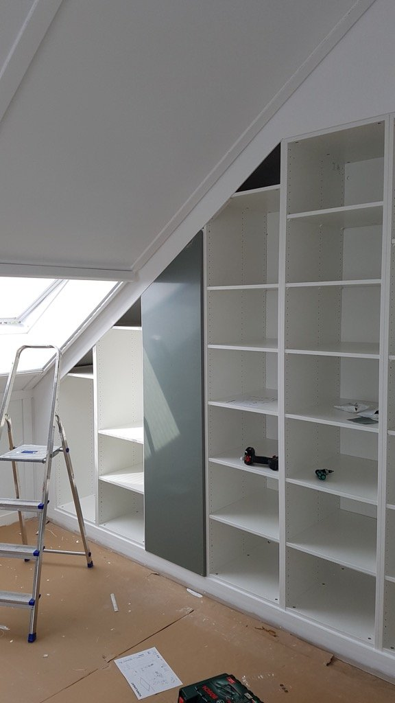 cut closet door under sloped ceiling
