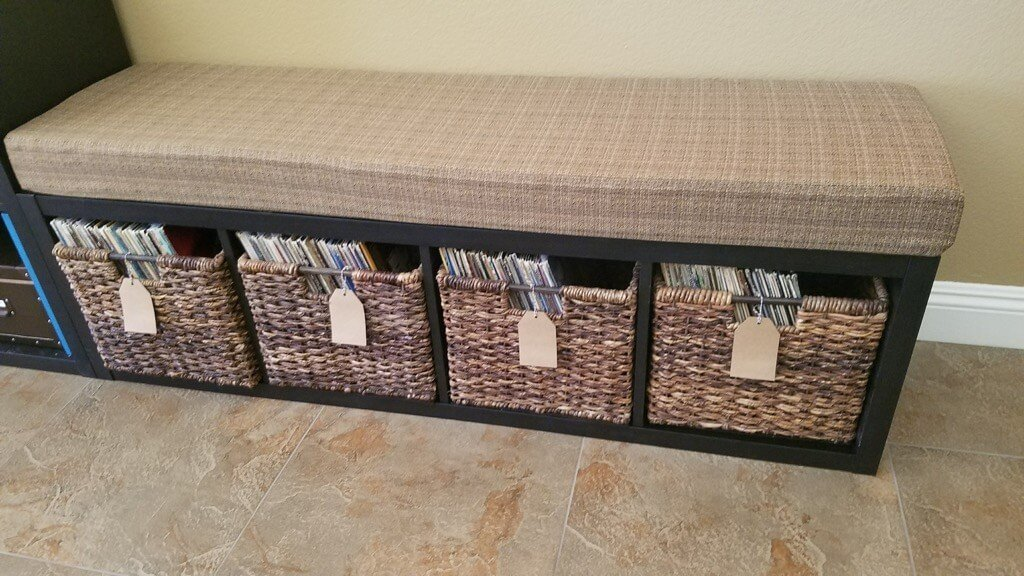 record storage bench IKEA KALLAX