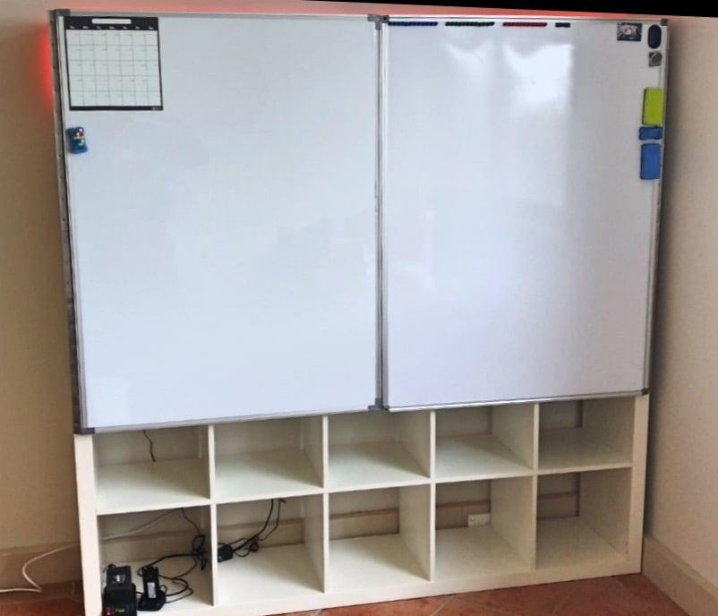 KALLAX storage unit with whiteboard doors