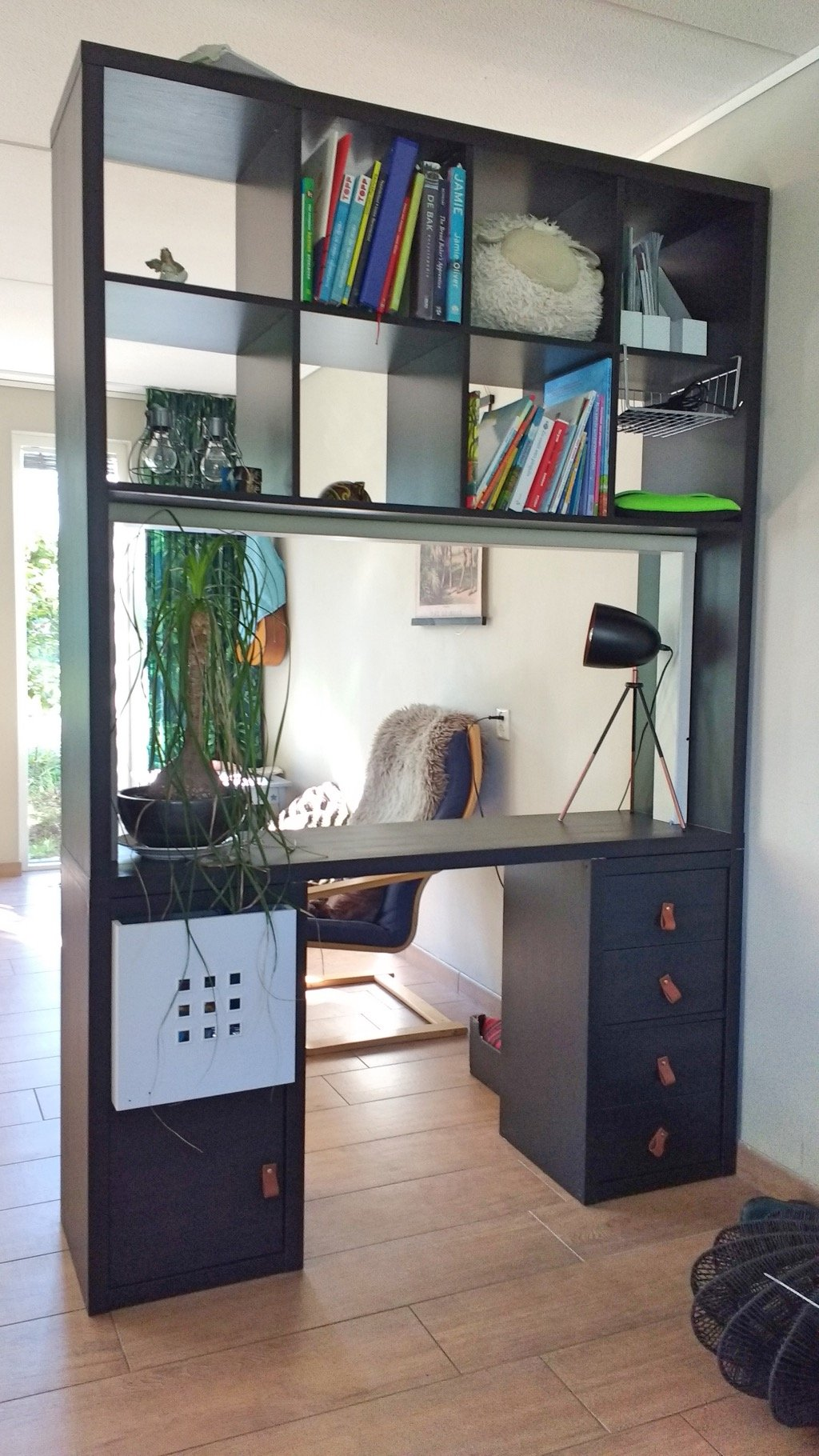 KALLAX tall room divider with integrated desk