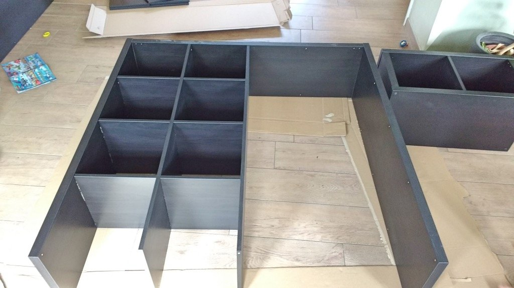 KALLAX tall room divider with integrated desk