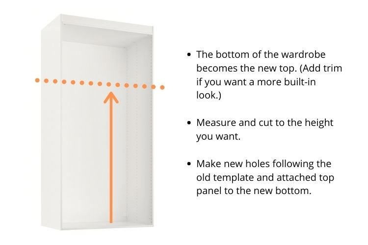 PAX height extension to raise wardrobe