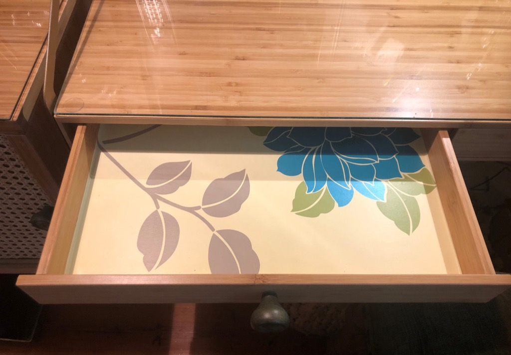desk with contact paper