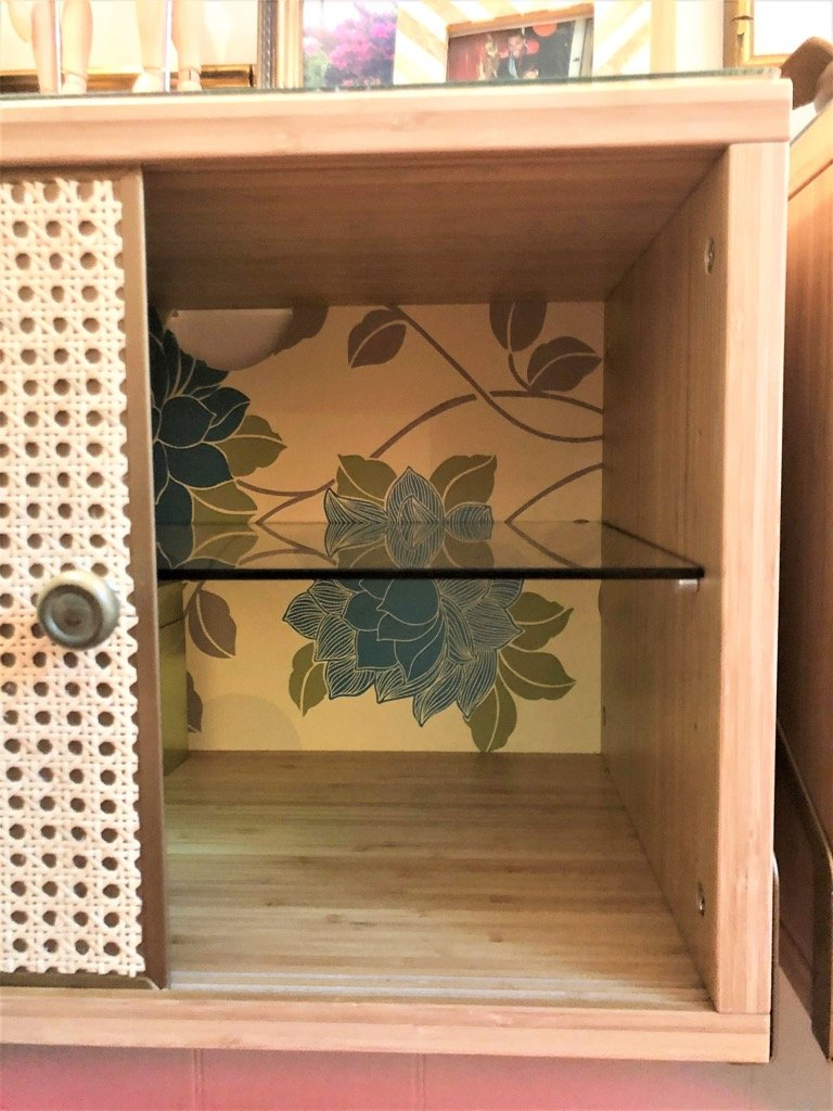 cabinet back with contact paper