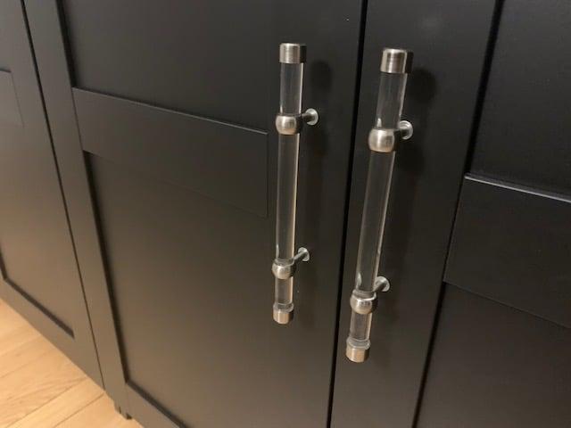 Acrylic pulls for IKEA BRIMNES dining room credenza