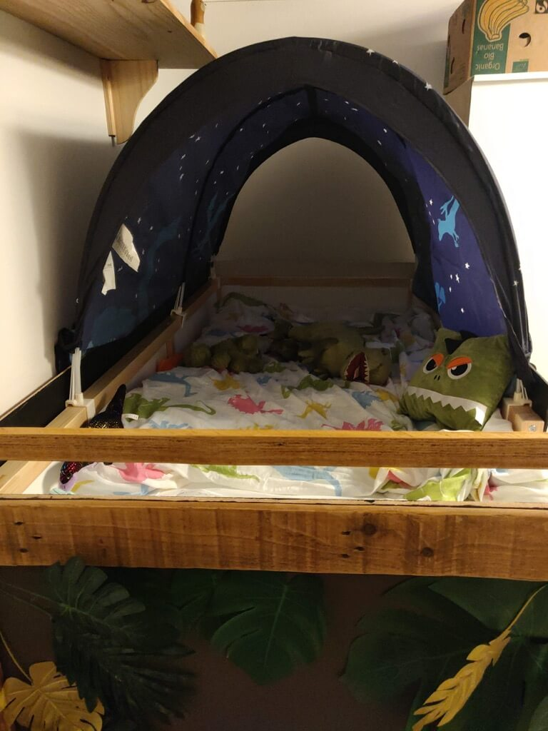 Rawrsome dinosaur bed from IKEA KURA bed