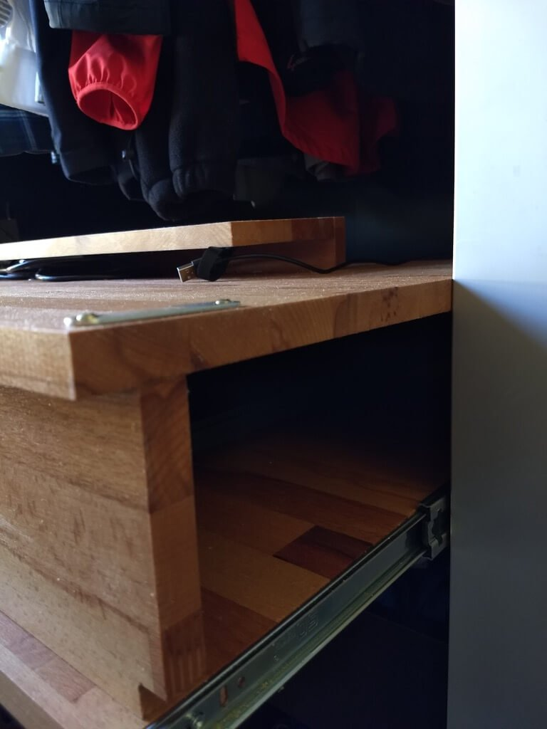 fold out desk pull out halfway